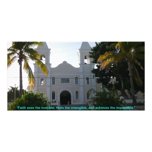 "Iglesia San Jose, ""Faith sees the invisible, fe... Personalized Photo Card"
