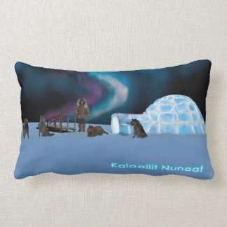 Igloo and Northern Lights - Greenland Lumbar Pillow