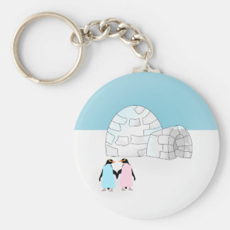 Igloo with colored penguins keychain