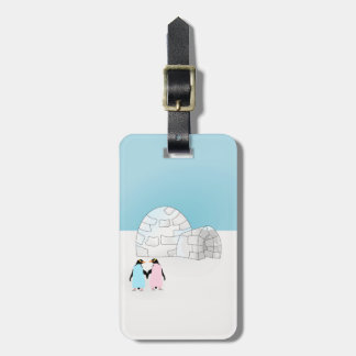 Igloo with colored penguins luggage tag