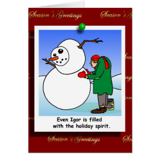 Igor builds a Snowman Cartoon Card