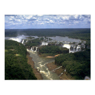 Iguacu Falls from the air, border of Argentina and Postcard