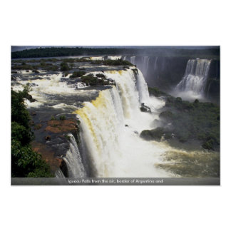 Iguacu Falls from the air, border of Argentina and Poster