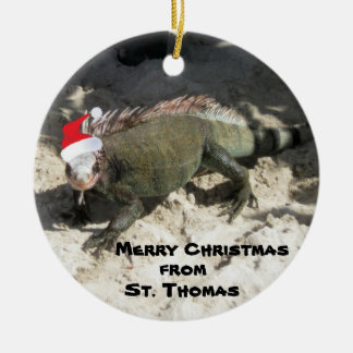 Iguana and Christmas Hat, Merry Christmas , fro... Round Ceramic Ornament