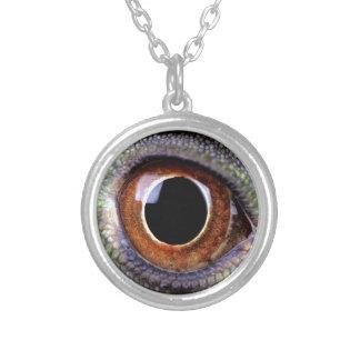 Iguana eye silver plated necklace