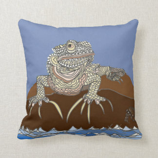 Iguana on a Rock with Hermit Crab Throw Pillow