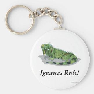 Iguanas Rule! Basic Round Button Keychain