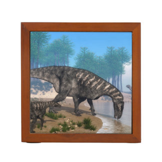 Iguanodon dinosaurs herd at the shoreline - 3D ren Desk Organizer