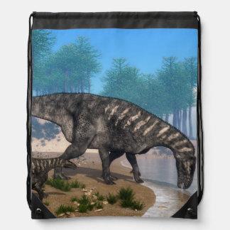 Iguanodon dinosaurs herd at the shoreline - 3D ren Drawstring Bag