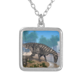 Iguanodon dinosaurs herd at the shoreline - 3D ren Silver Plated Necklace