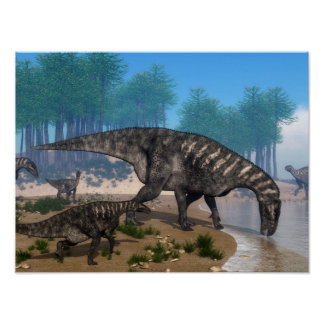 Iguanodon dinosaurs herd at the shoreline poster