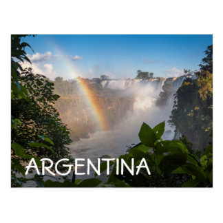 Iguazú Waterfalls With Rainbow, Argentina Postcard