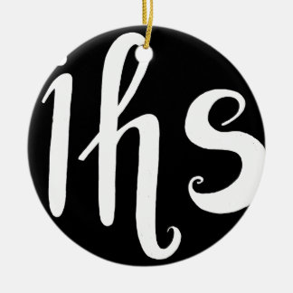 IHS in His service handwriting letters Ceramic Ornament
