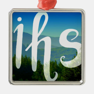 IHS in His service handwriting letters Metal Ornament