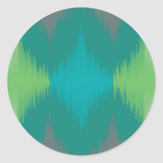 Ikat 001 Lime Gray Round Stickers