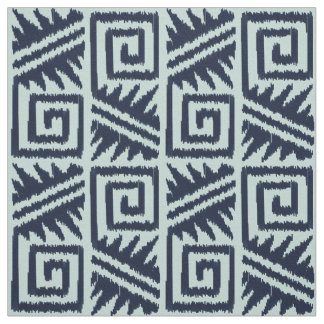 Ikat Aztec - Dark Indigo Blue and Chambrey Fabric