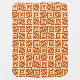 Ikat Aztec Pattern - Mandarin and Light Orange Stroller Blankets