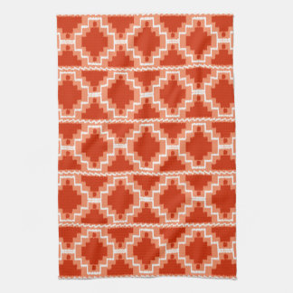 Ikat Aztec Pattern - Rust, Orange and white Kitchen Towel