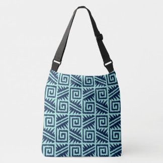 Ikat Aztec Tribal - Indigo and Light Blue Crossbody Bag