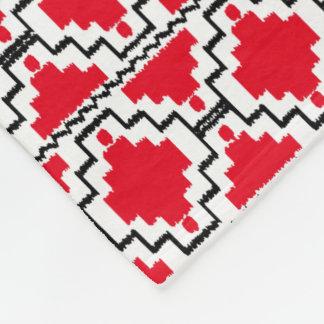 Ikat Aztec Tribal - Red, Black and White Fleece Blanket