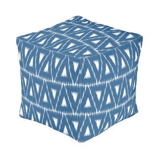 Ikat blue triangles pattern pouf