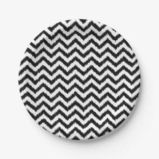 Ikat Chevron Black Pattern Zigzag 7 Inch Paper Plate