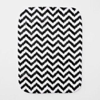 Ikat Chevron Black Pattern Zigzag Burp Cloth