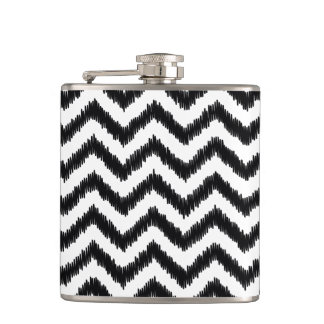 Ikat Chevron Black Pattern Zigzag Flask