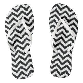 Ikat Chevron Black Pattern Zigzag Flip Flops