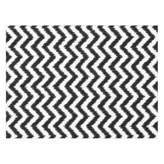 Ikat Chevron Black Pattern Zigzag Tablecloth