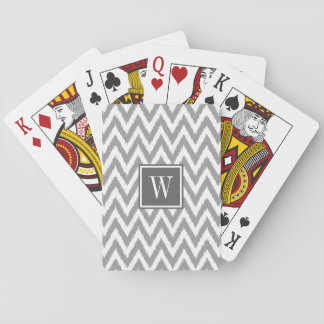 Ikat Chevron Gray Monogram Playing Cards