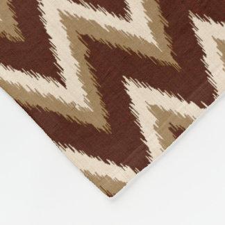 Ikat Chevron Stripes - Chocolate Brown & Beige Fleece Blanket