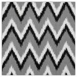 Ikat Chevron Stripes - Grey / Grey, Black & White Fabric