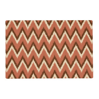 Ikat Chevron Stripes - Rust, Brown and Beige Laminated Place Mat