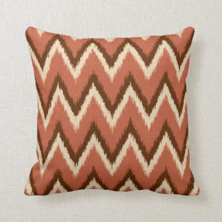 Ikat Chevron Stripes - Rust, Brown and Beige Throw Pillow