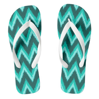 Ikat Chevron Stripes - Turquoise, Teal and Aqua Flip Flops