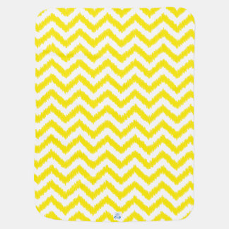 Ikat Chevron Sunny Yellow Pattern Zigzag Baby Blankets