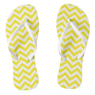 Ikat Chevron Sunny Yellow Pattern Zigzag Flip Flops
