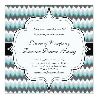 Ikat Chevron Zig Zags Green Gray Elegant Tribal Card