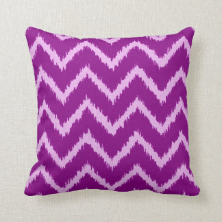 Ikat Chevrons - Amethyst purple and light orchid Pillow