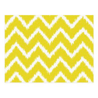 Ikat Chevrons - Mustard yellow and white Postcard