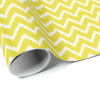 Ikat Chevrons - Mustard yellow and white Wrapping Paper