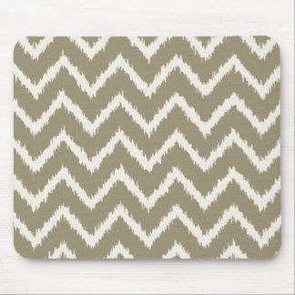 Ikat Chevrons - Taupe tan and beige Mouse Pad