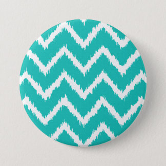 Ikat Chevrons - Turquoise and white 3 Inch Round Button