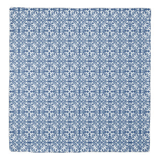 Ikat damask pattern - Cobalt Blue and White Duvet Cover