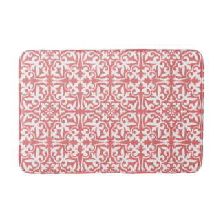 Ikat damask pattern - Coral Pink and White Bath Mat