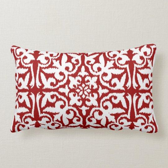 Ikat damask pattern - Dark Red and White Lumbar Pillow