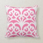 Ikat damask pattern - Hot pink Throw Pillow