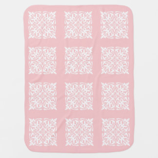 Ikat damask pattern - pale pink and white stroller blanket