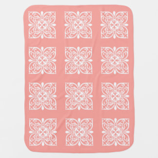 Ikat damask pattern - peach pink and white stroller blanket
